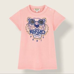 Kenzo Pink Embroidered Tiger Sweat Dress, 9 Months